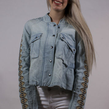 Embroidered Chambray Jacket