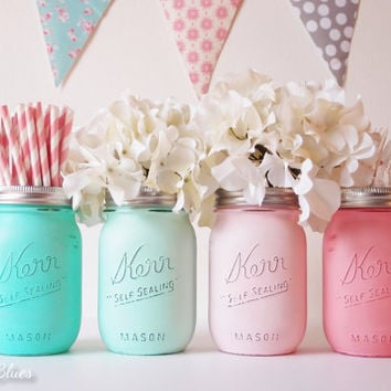 abd7c8df9c8a Baby Shower Centerpiece Painted Mason Jars Decoration Home Decor Vase  Neutral Boy Girl Aqua Mint Pink