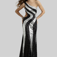 Clarisse 2014 Black Silver Sequin One Shoulder Open Back Long Prom Dress 2394 | Promgirl.net