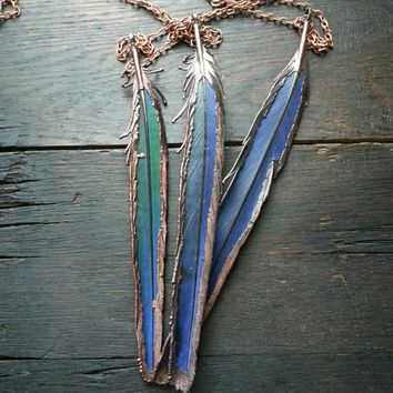 Electroformed Macaw Feather Pendant