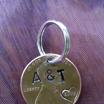 CUSTOM PERSONALIZED PENNY, wedding, add on to a necklace, birthday gift, anniversary, couples gift