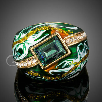 Jenia Bijouterie Gold Plated Austrain Crystal Green Oil Painting Wedding Ring for Men and Women XR114