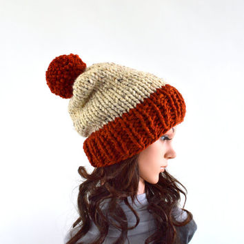 Chunky Slouchy Pom Pom Ski Hat Beanie Toque // The Aspen // in Oatmeal and Spice