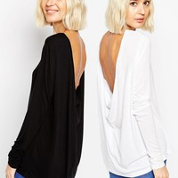 ASOS The Scoop Back Long Sleeve 2 Pack Save 11%