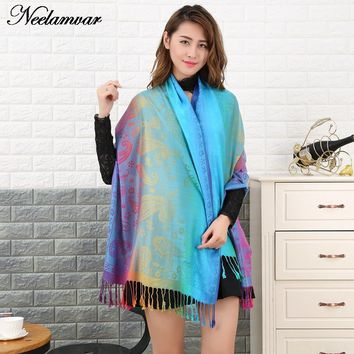 Neelamvar 2017 new winter scarves Popular Style Large Size tassel cotton Scarf woman Shawl Cashew scarves Cover stoles pashmina