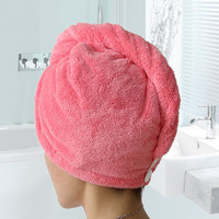 Towels Bathroom  Hair Towel 1pc Womens Girls Magic Hair Drying Hat Cap Salon Towels Quick Dry Bath Microfiber Fabric