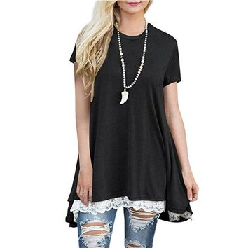 Black Short Sleeve A-Line Tunics Tops Lace Hem Pullover Shirts Dress Tunic Sweatshirts Top for Women