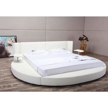 King size Round White Faux Leather Platform Bed with LED Headboard and Nightstands