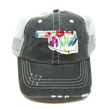 Black and Gray Distressed Trucker Hat - Wildflower Applique - Oklahoma - All United States Available