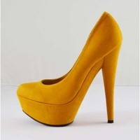 Trendy Clothing, Fashion Shoes, Women Accessories | Anne Michelle Topgun 01 Mustard Pointy Toe Pump - Shoes  | LoveShoppingMiami.com