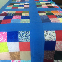 Vintage Quilt Top Table Cover Throw Handcrafted