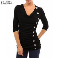 Women Sexy Shirts Long Sleeve Side Buttons Casual Solid Tops Elegant Ladies Plus Size