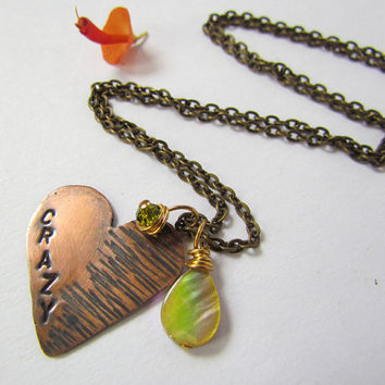 Hand Stamped Copper Crazy Heart Pendant by SandstarJewelry on Etsy