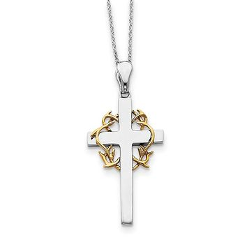Sterling Silver and Gold-plated No Greater Love Cross 18in Necklace