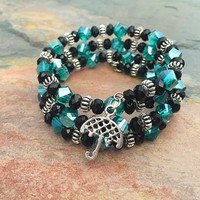 Memory Wire Jewelry - Teal Green and Black Jewelry - Umbrella Charm - Stretch Bracelet - Stainless Steel Jewelry - Glass Beaded Bracelet