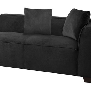Plush One Arm Fabric Upholstered Loveseat With 2 Pillows, Dark Graphite Gray