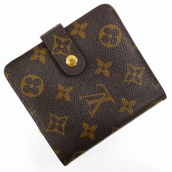 Authentic LOUIS VUITTON Compact Zip Monogram Bi-fold Wallet Brown #X16397