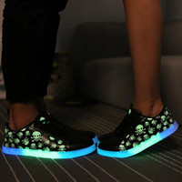 Super Cool Skull Brand Glowing Shoes With Lights For Adults Luminous Fluorescent Shoes For Women
