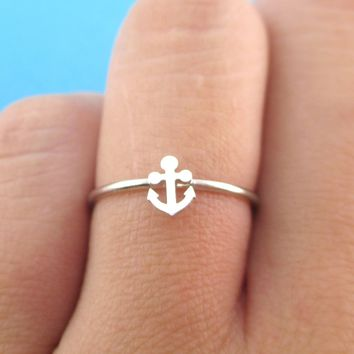 Tiny Miniature Anchor Shaped Minimal Nautical Adjustable Ring in Silver