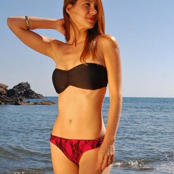 Brazilian Thong Bikini Bottom TARIFA in Pink and Black Lace Reversible, by MAKANI DREAM Swimwear