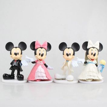 New 2pcs/set Cartoon anime Minnie mouse figure toy White pink Mickey Minnie Wedding cake decorations gifts
