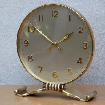 Vintage Semca Round Brass 8 Jewel Mantel Clock