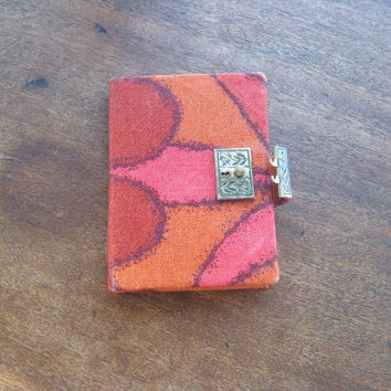 1970s Vintage Fabric Covered Diary/Journal - Orange/Red Abstract Fabric Covered Hippie Journal