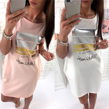 Short Sleeve Skirt Hot Sale Alphabet Print Round-neck With Pocket One Piece Dress [10816549639]