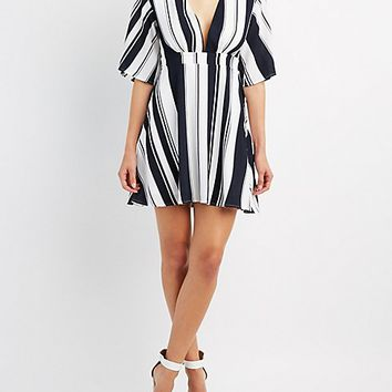 Striped Plunging Skater Dress