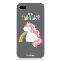Head Case Designs Long Unicorn Rainbow Puke Design Back Case Cover for Apple iPhone 4/4S