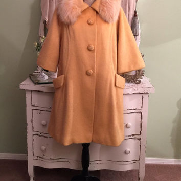 Lilli Ann Mohair/ Fur Coat, Orange Sherbet Swing, 50s Vintage Coat, Paris Couture Coat, 1950s Glam Winter Coat, Chic Designer Coat, One Size