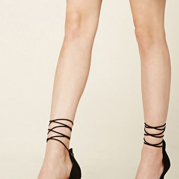 Faux Suede Ankle-Wrap Heels