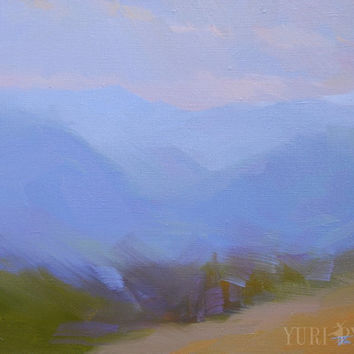 Abstract Landscape Painting - Original Oil Mountains Art - Small Blue Artwork on Canvas 35x45cm