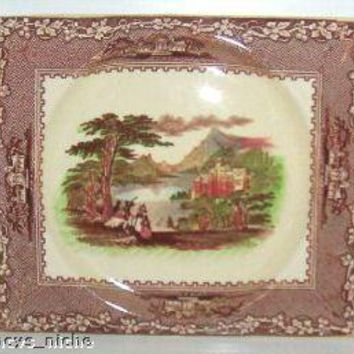 Brown Transferware Platter Tray Polychrome Jenny Lind Charles Meigh and Son Biarritz