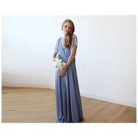 Dusty Blue wrap maxi dress with short lace sleeves 1052