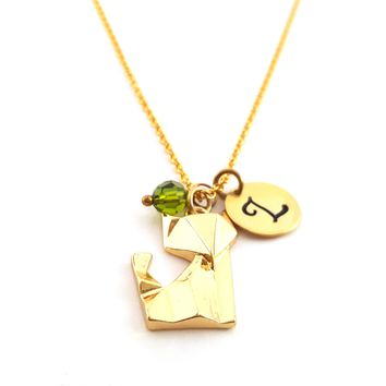 Origami Fox Charm - Personalized Initial Hand Stamped Gold Necklace