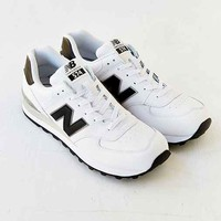 New Balance 574 Leather Running Sneaker- Black & White