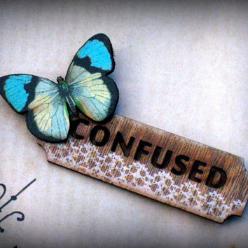 Confused Ironic Wooden Name Tag Brooch