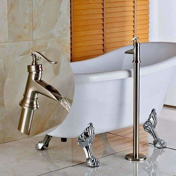 Waterfall Spout Bathroom Floor Mounted Tub Filler Tub Faucet Brushed Nickel NEW