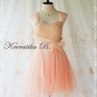 Fantastic Cocktail Night - Peach Tangerine Tutu Cocktail Dress Scarf Hem Dress Party Prom Dress Wedding Bridesmaid Dress