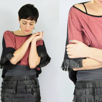 Fringe top, oversized, chiffon cotton faux leather fringe, one size top, box T, redwood / Indian red, black, metallic stripes
