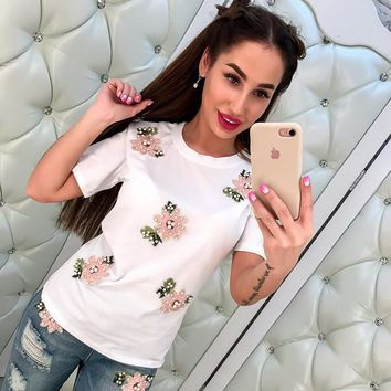 Floral Short Sleeve Tops Summer Style Embroidery Women's Fashion T-shirts [256934019098]