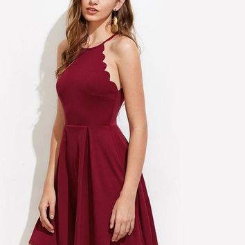 Edge Box Pleated Dress Ladies Burgundy Sleeveless Halter Fit and Flare Dress Sexy Dresses