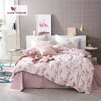 SlowDream Pink Flamingos Bedding Set Duvet Cover Bedspread Comforter Bed Sheets Double Linens Set Queen King Adult Bedclothes