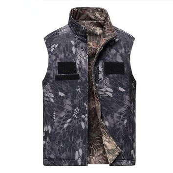 Men Shark Skin Soft Shell Waterproof Double Face Can Wear Waistcoat Outdoor Military Tactical Army Combat Sleeveless Jacket Vest