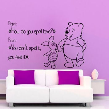 Winnie The Pooh Wall Decals Love Piglet Wall Quotes Children Vinyl Sticker Baby Kids Wall Decor Home Art Girl Boy Nursery Room Decor KG655