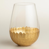 Gold Stemless Wine Glasses, Set of 4 - World Market