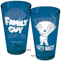 Family Guy Stewie Party Naked! Blue Pint Glass