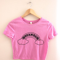 Unfamous Rainbow Pink Graphic Crop Top