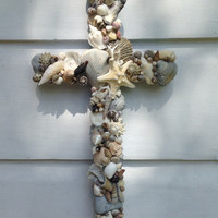 Seashell Cross/Beach Wedding Cross/Reclaimed Wood Cross